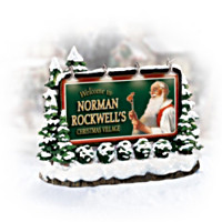 Norman Rockwell Christmas Village Illuminated Welcome Sign