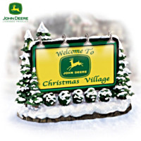 John Deere Christmas Village Illuminated Welcome Sign