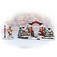 Norman Rockwell Christmas Village Gate Village Accessory Set