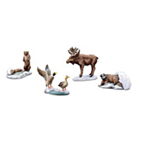 Quiet Snowfall Wildlife Animals Village Accessory Set
