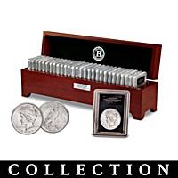 Uncirculated Morgan And Peace Silver Dollar Coin Collection