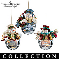 Thomas Kinkade Snow-Bell Ornament Collection: Sets Of Three