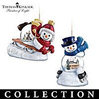 Thomas Kinakde Snow Wonderful Snowglobe Ornament Collection