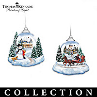 Thomas Kinkade Joy To The World Lighted Ornament Collection