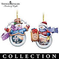 Thomas Kinkade Snowplace Like Home Ornament Collection
