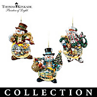 Thomas Kinkade Holiday Art Illuminated Snowman Ornaments