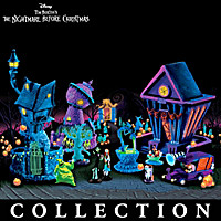Nightmare Before Christmas Black Light Village And Figurines