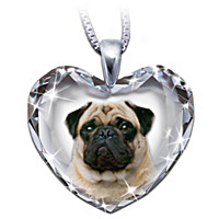 Pug, Close To My Heart Crystal Dog Pendant Necklace