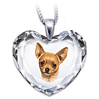 Chihuahua, Close To My Heart Crystal Dog Pendant Necklace