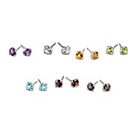 A Week Of Genuine Gemstones Stud Earrings