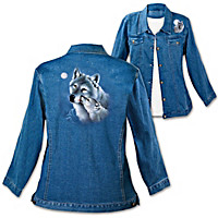 Eddie LePage Wolf Art Stone-Washed Denim Women's Jacket