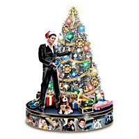 Elvis Illuminated Musical Christmas Tree With TCB Topper