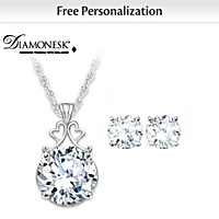 Diamonesk Bridal Earrings And Personalized Pendant Set