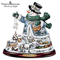 Thomas Kinkade Snowman With Lights, Animated Train, Music