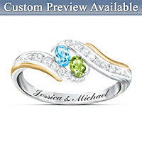 True Love Couples Personalized Birthstone Ring