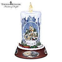 Thomas Kinkade Lit Musical Crystal Candle With Moving Train