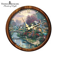 Thomas Kinkade Lamplight Bridge Wall Clock