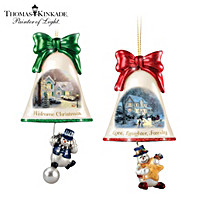 Thomas Kinkade Ringing In The Holidays Ornament Set: Set 5