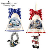 Thomas Kinkade Ringing In The Holidays Ornament Set: Set 6