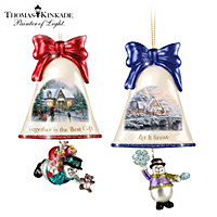 Thomas Kinkade Ringing In The Holidays Ornament Set: Set 9
