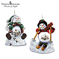 Thomas Kinkade Holiday Scene Snowman Snowglobe Ornament Set