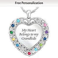 My Heart, My Grandkids Personalized Pendant Necklace