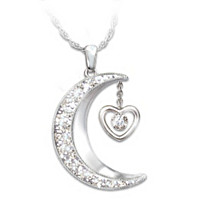 Love To The Moon And Back Diamond Pendant Necklace