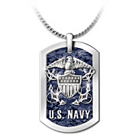 U.S. Navy Dog Tag Pendant Necklace