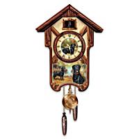 Boisterous Black Labs Cuckoo Clock