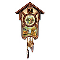 Gentle Golden Retrievers Cuckoo Clock