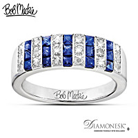 Bob Mackie Blue And Bold Diamonesk Ring