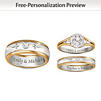 Forever In Faith His & Hers Personalized Wedding Rings
