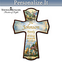 Thomas Kinkade Family Blessings Personalized Cross