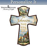 Thomas Kinkade Family Blessings Personalized Cross
