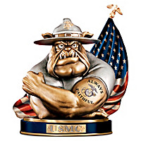 USMC Devil Bulldog Cold-Cast Bronze Bank - To Save And Protect Bank