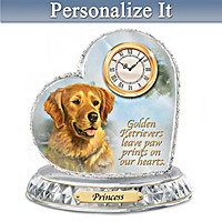 Golden Retriever Crystal Heart Personalized Clock