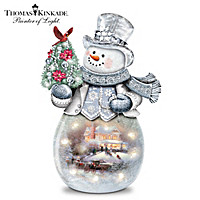 Thomas Kinkade Warm Winter's Glow Snowman Sculpture