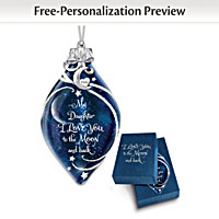 Daughter, I Love You To The Moon Personalized Ornament