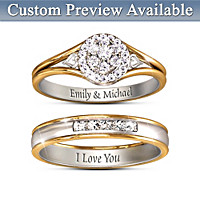 Together Forever Personalized Diamond Bridal Ring Set