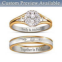 Forever In Faith Personalized Diamond Bridal Ring Set