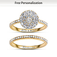 Golden Personalized Diamond Bridal Ring Set