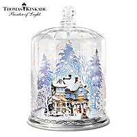 Thomas Kinkade Silhouettes In The Snow Table Centerpiece