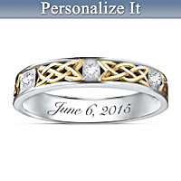 Irish Trinity Knot Personalized Men's Wedding Ring