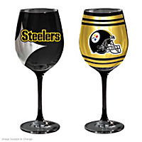 Gridiron Stars Pittsburgh Steelers Wine Glass Set