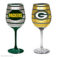 Gridiron Stars Green Bay Packers Wine Glass Set