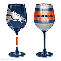 Gridiron Stars Denver Broncos Wine Glass Set