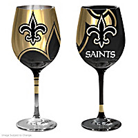 Gridiron Stars New Orleans Saints Wine Glass Set
