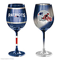 Gridiron Stars New England Patriots Wine Glass Set