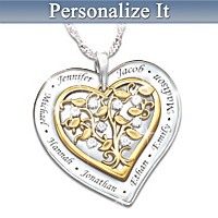 Our Family Grows With Love Personalized Pendant Necklace