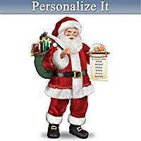 Checking His List Santa Portrait Sculpture